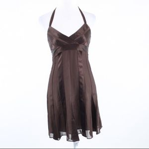 BCBG Max Azria brown silk halter neck dress 4